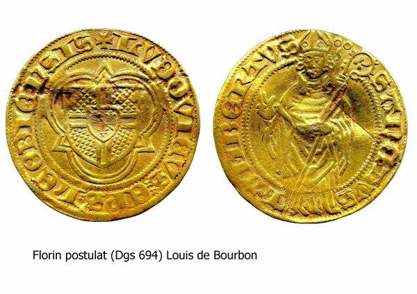 Louis de Bourbon (1456-1482) et le florin postulat (Dgs 694, Chestret 342) atelier de Liège