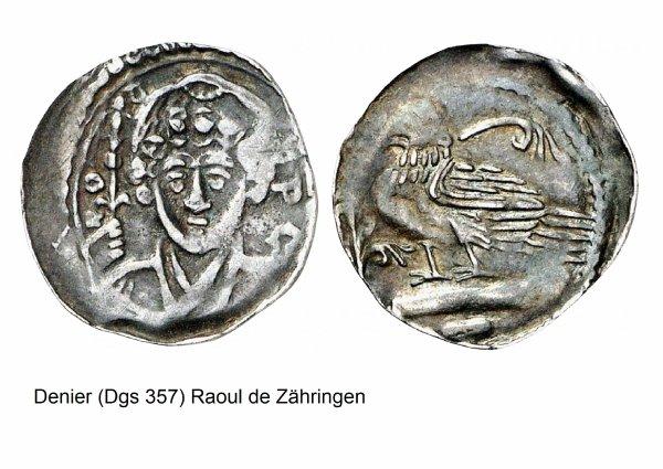 Raoul de Zähringen (1167-1191) et le denier (Dgs 357, Chestret 116) atelier de Liège