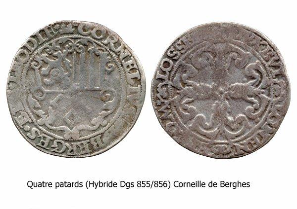 Corneille de Berghes (1538-1544) et le quatre patard (Dgs 855, Chestret 460) atelier d'Hasselt