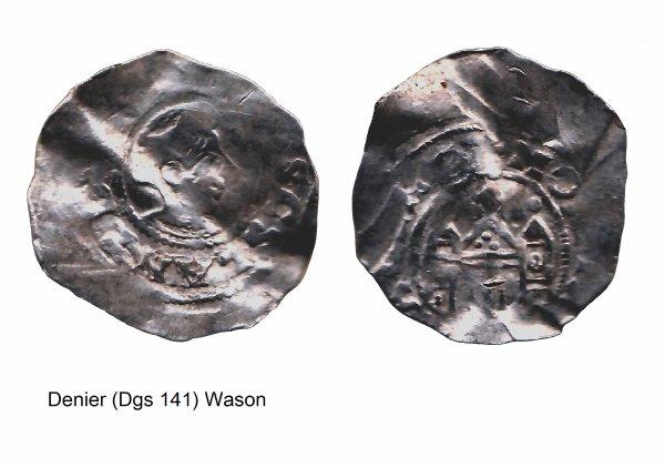 Wazon (1042-1048) et le denier (Dgs 141, Chestret 24) atelier de Ciney