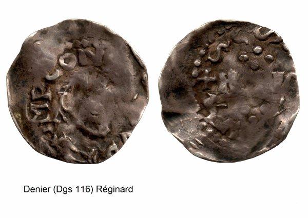 Réginard (1025-1037) et le denier (Dgs 116) atelier de Huy