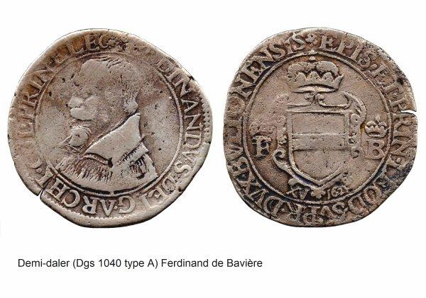 Ferdinand de Bavière (1612-1650) et le demi-daler (Dgs 1040, Chestret 593) atelier de Liège et de Visé