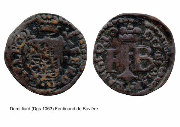 Ferdinand de Bavière (1612-1650) et le demi-liard (Dgs 1063, Chestret 621) atelier de Liège