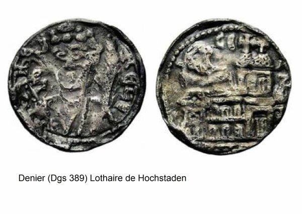 Lothaire de Hochstaden (1192-1193) et le denier (Dgs 389, Chestret 133) atelier de Liège