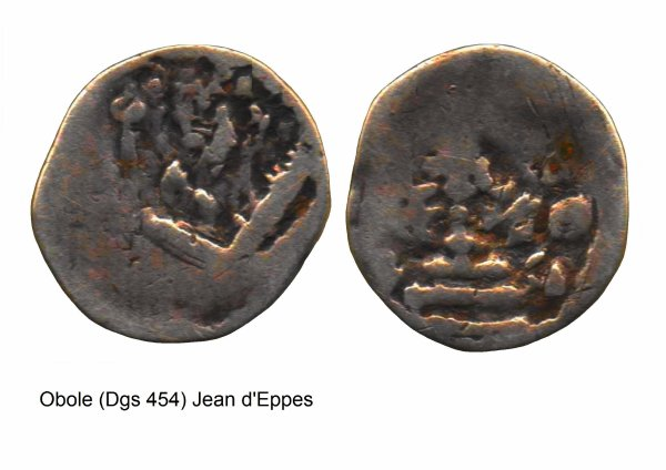 Jean d'Eppes (1229-1238) et l'obole (Dgs 454, Chestret 191) atelier de Huy