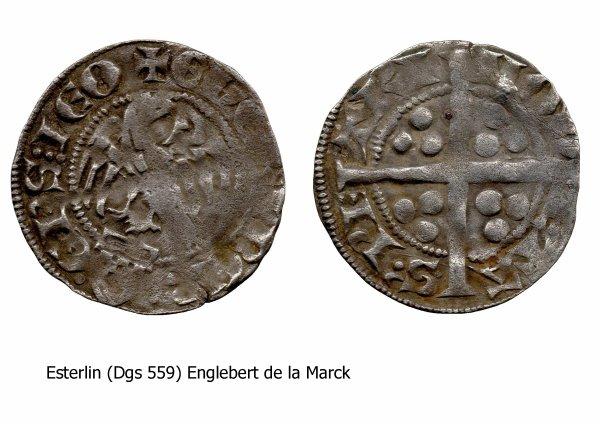 Englebert de la Marck (1344-1364) et l'esterlin (Dgs 559, Chestret 245) atelier de Maastricht