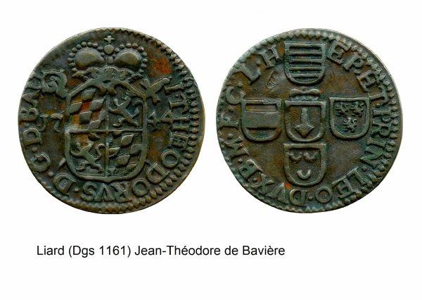 Jean-Théodore de Bavière (1744-1763) et le liard (Dgs 1161, Chestret 685) atelier de Liège