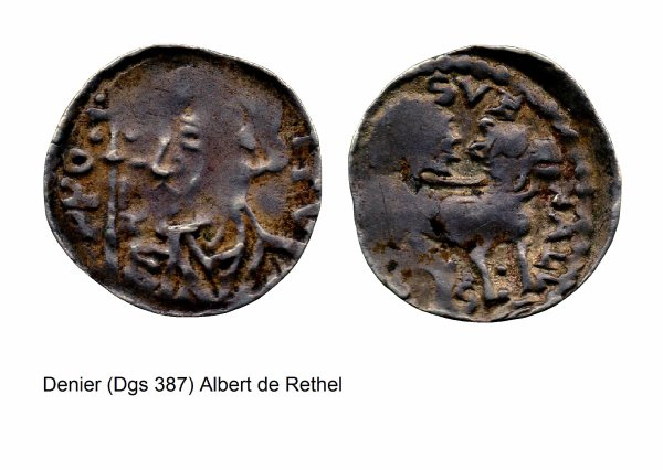 Albert de Rethel (1191-1194) et le denier (Dgs 387, Chestret 131) atelier de Huy
