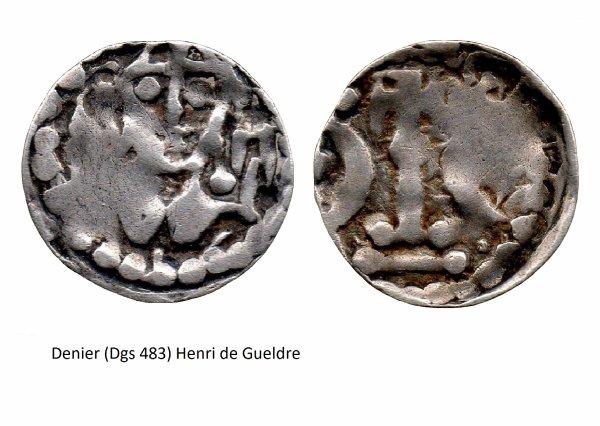 Henri de Gueldre (1247-1274) et le denier (Dgs 483, Chestret 175) atelier de Huy ou Liège