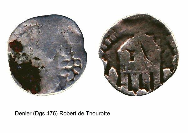 Robert de Thourotte (1240-1246) et le denier (Dgs 476, Chestret 203) atelier de Dinant