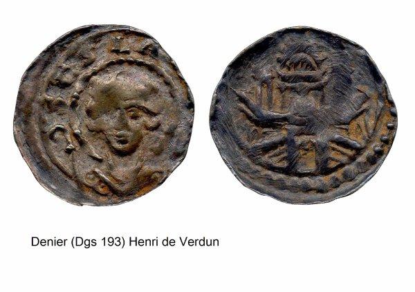 Henri de Verdun (1075-1091) et le denier (Dgs 193, Chestret 67) atelier de Liège