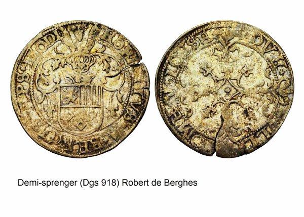 Robert de Berghes (1557-1564) et le demi-sprenger (Dgs 918, Chestret 507) atelier de Liège ou Hasselt