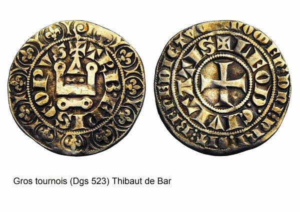 Thibaut de Bar (1302-1312) et le gros tournois (Dgs 523, Chestret 220) atelier de Liège