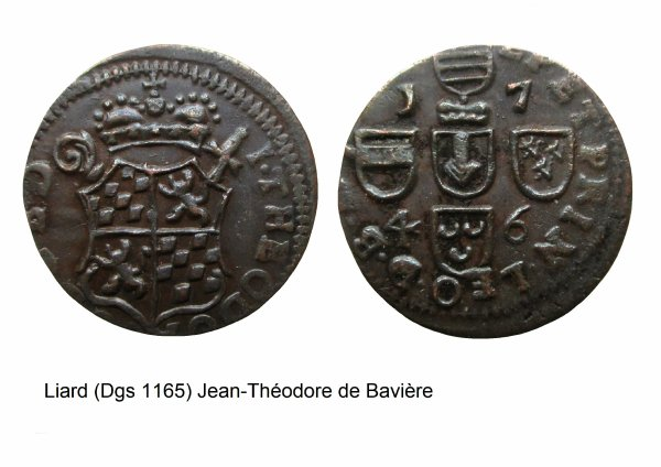 Jean-Théodore de Bavière (1744-1763) et le liard (Dgs 1165, Chestret 686) atelier de Liège