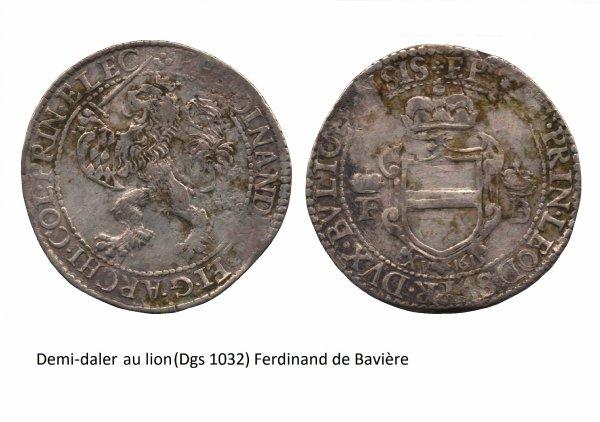 Ferdinand de Bavière (1612-1650) et le demi-daler au lion (Dgs 1032, Chestret 590) atelier de Hasselt