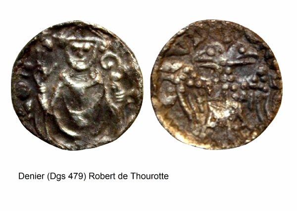 Robert de Thourotte (1240-1246) et le denier (Dgs 479, Chestret 204) atelier de Saint-Trond