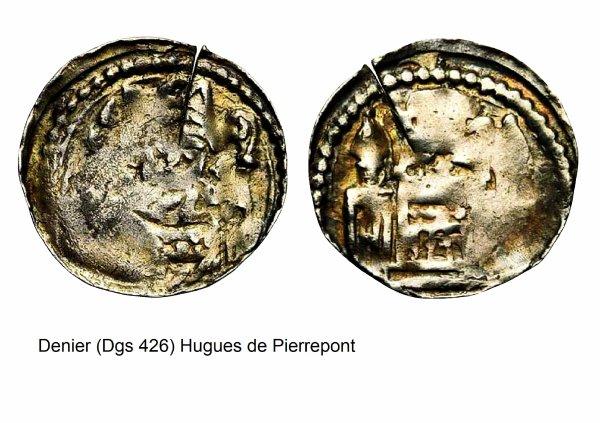 Hugues de Pierrepont (1200-1229) et le denier (Dgs 426, Chestret 158) atelier de Liège