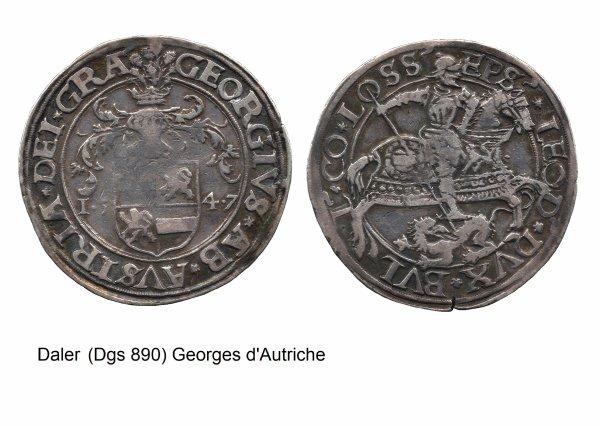 Georges d'Autriche (1544-1557) et le daler (Dgs 890, Chestret 484) atelier de Liège ou Hasselt