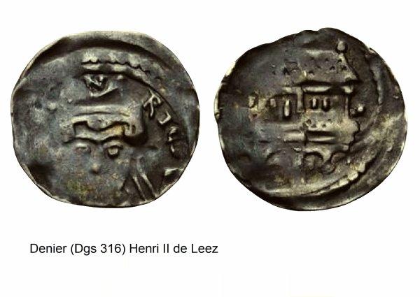 Henri de Leez (1145-1164) et le denier (Dgs 316, Chestret 97) atelier de Liège ou Maastricht