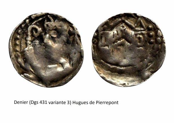 Hugues de Pierrepont (1200-1229) et le denier (Dgs 431, Chestret 164) atelier de Maastricht