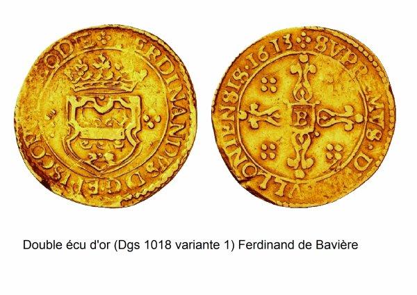 Ferdinand de Bavière (1612-1650) et le double-écu d'or (Dgs 1018, Chestret 578) atelier de Bouillon
