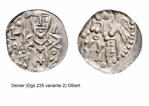 Otbert (1091-1119) et le denier (Dgs 235, Chestret 53) atelier de Huy