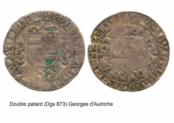Georges d'Autriche (1544-1557) et le double-patard (Dgs 873, Chestret 476) atelier de Liège