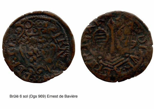 Ernest de Bavière (1581-1612) et le brûlé 6 sols (Dgs 969, Chestret 560) atelier de Liège