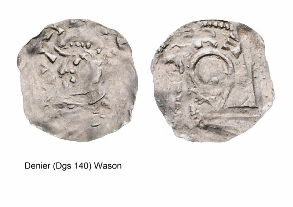 Wazon (1042-1048) et le denier (Dgs 140, Chestret 24) atelier de Maastricht
