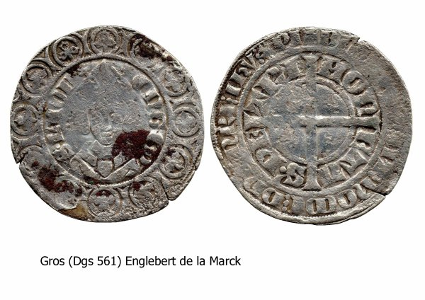 Englebert de la Marck (1344-1364) Gros (Dgs 561, Chestret 247) atelier de Maastricht