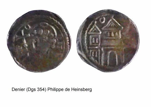Philippe de Heinsberg (1167) et le denier (Dgs 354, Chestret 114) atelier de Maastricht