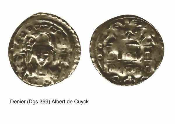 Albert de Cuyck (1194-1200) et le denier (Dgs 399, Chestret 151) atelier de Liège