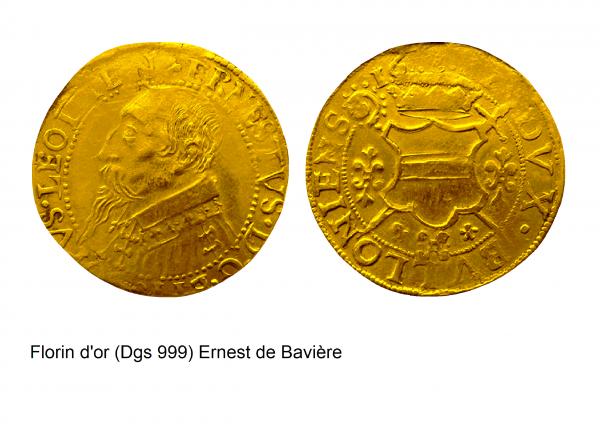 Ernest de Bavière (1581-1612) et le florin d'or (Dgs 999, Chestret 530) atelier de Bouillon