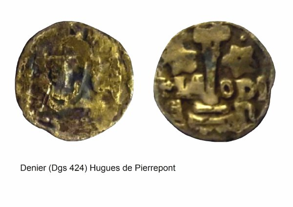 Hugues de Pierrepont (1200-1229) et le denier (Dgs 424, Chestret 168) atelier de Liège