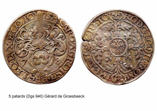 Gérard de Groesbeeck (1564-1580) et le 5 patards (Dgs 940, Chestret 518) atelier de Liège ou Hasselt