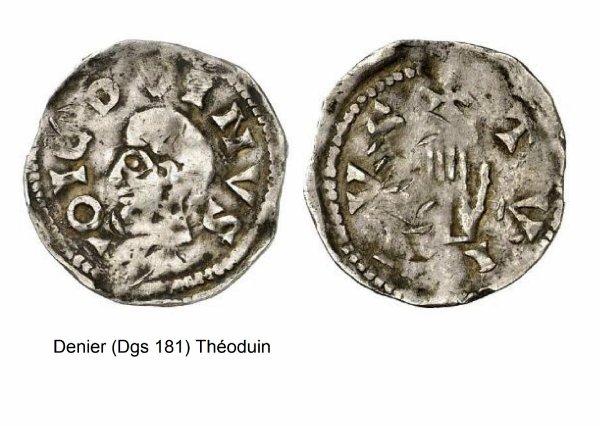 Théoduin (1048-1075) et le denier (Dgs 181, Chestret 38) atelier de Thuin