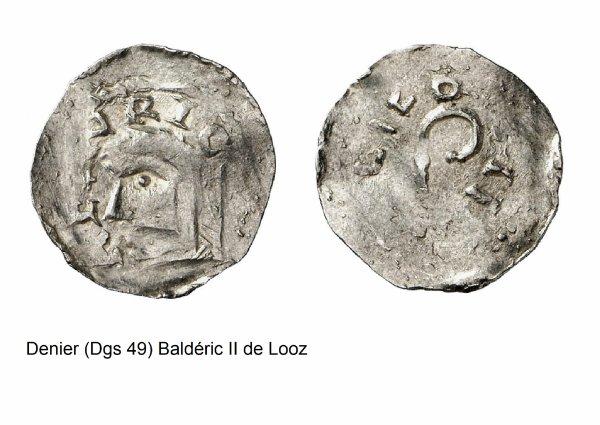 Baldéric II de Looz (1008-1018) et le denier (Dgs 49, Chestret 23) atelier de Liège