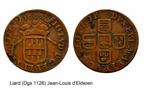 Jean-Louis d'Elderen (1688-1694) et le liard (Dgs 1126, Chestret 656) atelier de Liège
