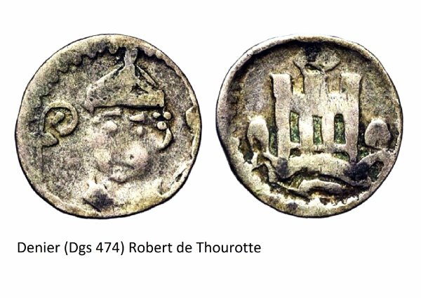 Robert de Thourotte (1240-1246) et le denier (Dgs 474, Chestret 202b) atelier de Dinant
