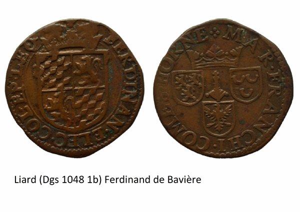 Ferdinand de Bavière (1612-1650) et le liard (Dgs 1048, Chestret 613) atelier de Liège