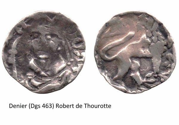 Robert de Thourotte (1240-1246) et le denier (Dgs 463, Chestret 199) atelier de Liège