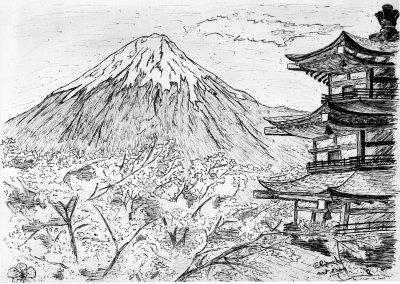 dessin manga paysage