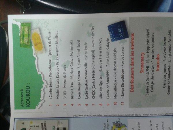 Lieux de distribution de capote à Kourou