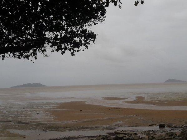 La mer s'est retirée très loin