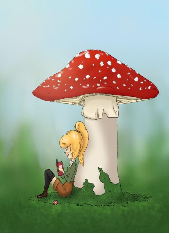 Lecture sous champignon