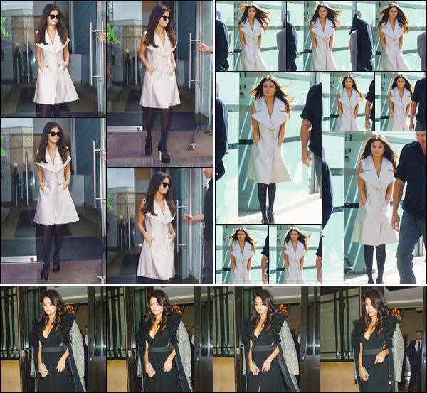 - ''-23/09/15-''- • '-Selena Gomez a été aperçue en quittant les studios de la radio« Capital FM »situés à Londres. Plus tard c'est arrivant au studio d'enregistrement «Wisebuddah » que S. a été vue. Puis le soir, allant dîner à l'hôtel «The Dorchester ». -