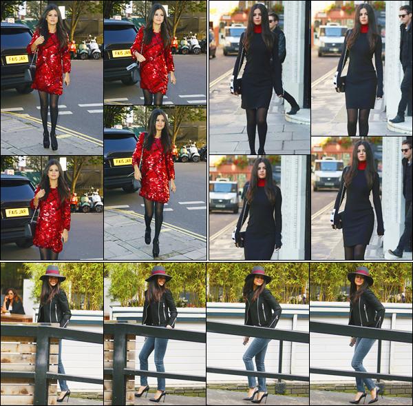 - ''-23/09/15-''- • '-Selena Gomez a été vue en arrivant aux studios de la radio: « Kiss FM »se trouvant à Londres. Un peu plus tard, c'est lorsqu'elle arrivait aux studios de la radio « ITV » se trouvant également à Londres. Trois super looks, que des top. -