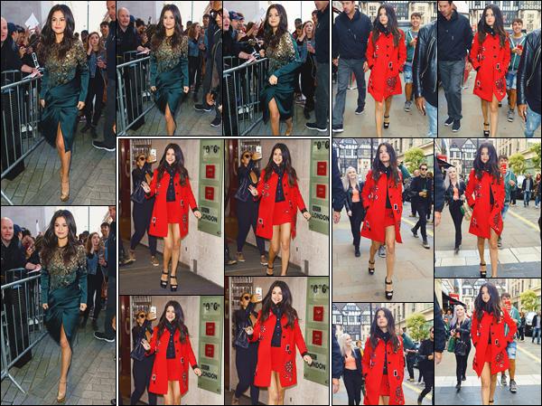 - ''-25/09/15-''- • '-Selena Gomez a été vue arrivant aux studios de la radio :« BBC Radio 1 »situés dans Londres. Un peu plus tard, dans une tenue différente, Selena a été aperçue quittant ces mêmes studios. Puis, plus tard, dans les rues de Londres ! -