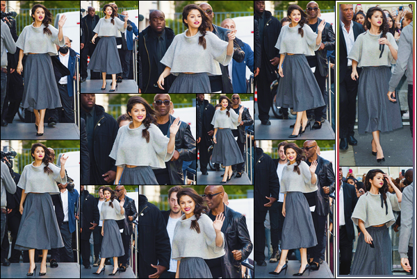 - ''-28/09/15-''- • '-Selena Gomez a été vue pendant qu'elle arrivait aux studios de la radio« NRJ »situés à Paris. Par la suite, c'est en quittant ces mêmes studios que Selena a été repérée. Je suis tout simplement fan de son look, c'est un énorme top.