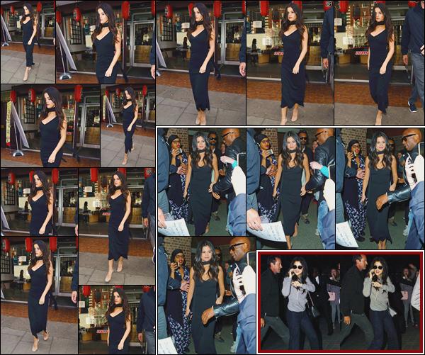 - ''-25/09/15-''- • '-Selena Gomez a été aperçue quittant le restaurant Japonais :« Bento Cafe »situé à Londres. Plus tard S. arrivait dans une statut de métro de Londres. Et, bien plus tard encore, arrivait à son hôtel à désormais à Paris, en France. -